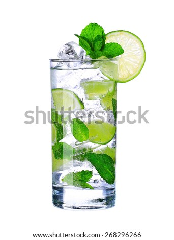 Mojito cocktail in glass isolated on white background - stock photo