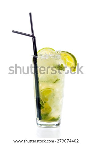 Mojito cocktail isolated on white in glass.