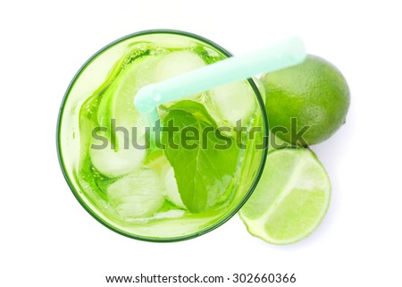 Mojito cocktail isolated on white - top view - stock photo