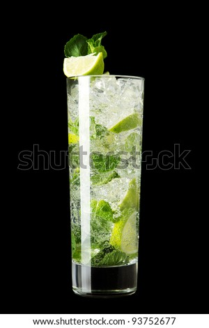 Mojito cocktail isolation on a black - stock photo