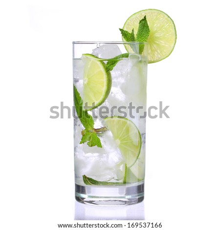 Mojito cocktail isolation on a white - stock photo