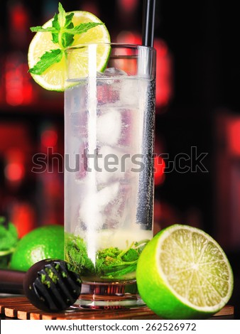 Mojito cocktail on a bar counter in a nightclub