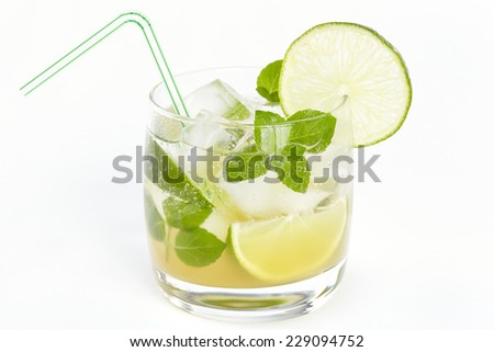 Mojito cocktail on a white background - stock photo