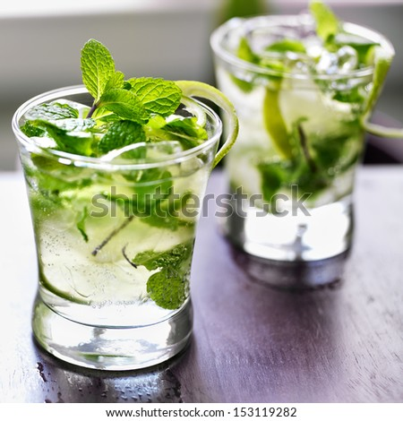 mojito cocktail shot with selective focus - stock photo