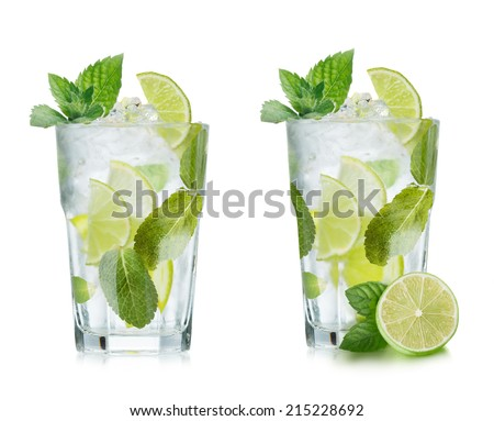 Mojito cocktail with lime and mint in highball glass. Set of isolated mojitos  - stock photo