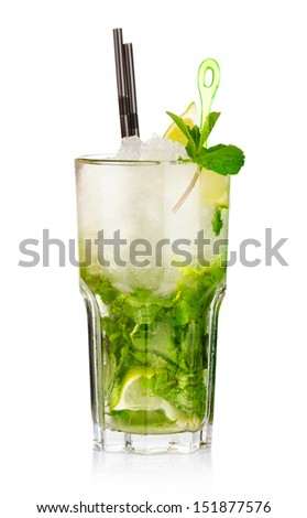 Mojito cocktail with lime fruits and mint isolated on white background - stock photo