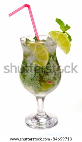 Mojito cocktail with lime on a white
