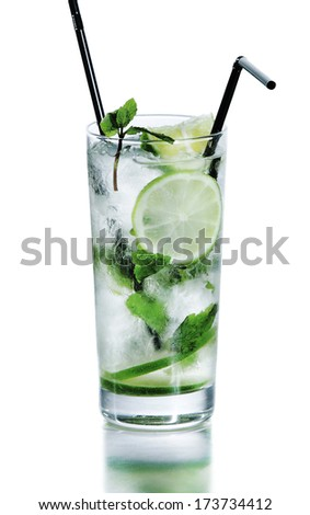 Mojito cocktail with lime studio white background - stock photo