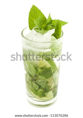 Mojito cocktail with mint leaf isolated on white background