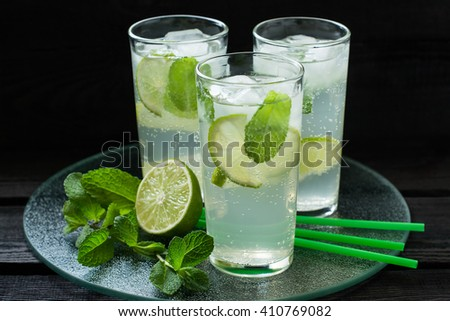 Mojito cocktail with rum, lime, mint and soda in highball glass on a glass tray - stock photo