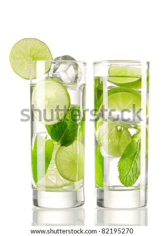 Mojito cocktails isolated on white - stock photo