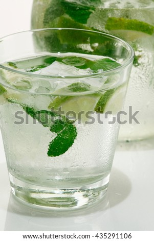 Mojito drink / Caipirinha shot / Vodka shot /water glass / tequila shot - stock photo