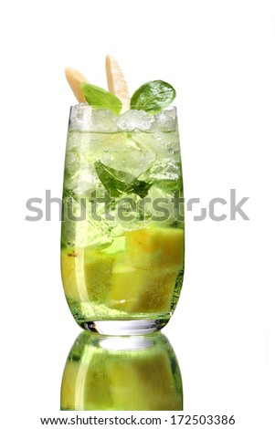 Mojito drink cocktail with ice / studio photography of beverages isolated on white background with reflection  - stock photo
