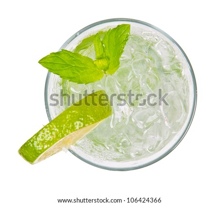Mojito drink from top view, isolated on white background - stock photo