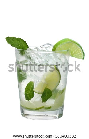 Mojito drink with limes and mint cutout, isolated on white background - stock photo