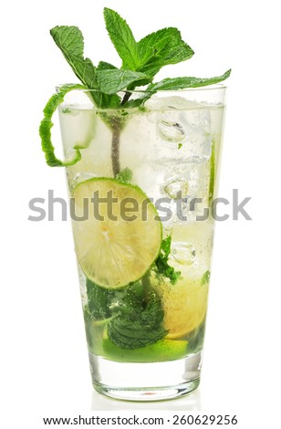 Mojito is made of: 3 fresh mint sprigs 2 tsp sugar 3 tbsp fresh lime juice 1 1/2 oz light rum club soda - stock photo