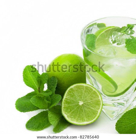 mojito, limes and mint isolated on a white background - stock photo