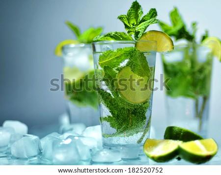 mojito with ice - stock photo