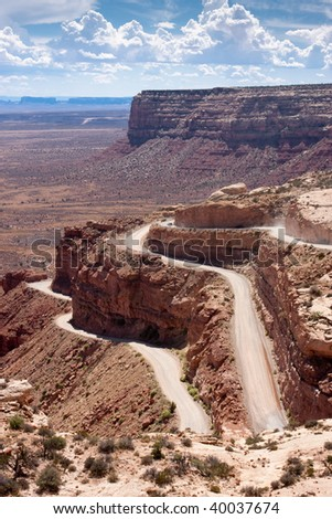 Moki Dugway road leads out of the Valley of the Gods to Muley Point which overlooks Monument Valley, Mexican Hat and the Valley of the Gods.