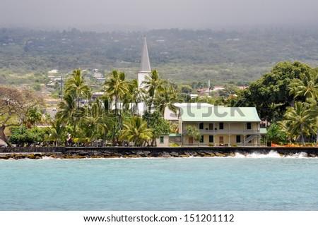 Mokuaikaua church in Kona, Big Island of Hawaii - stock photo