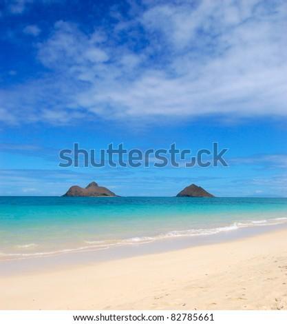 Mokulua Islands Lanikai Beach Hawaii - stock photo