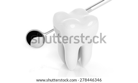 Molar tooth with dental mirror isolated on white background - stock photo