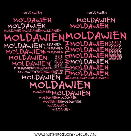 Moldavia word cloud in pink letters against black background