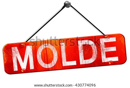Molde, 3D rendering, a red hanging sign