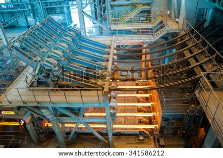 molding shop at steel mill - stock photo