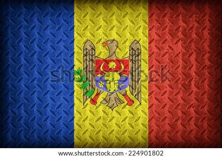 Moldova flag pattern on the diamond metal plate texture ,vintage style - stock photo