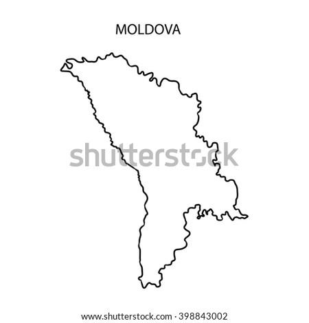 Moldova Map Outline Stock Illustration Shutterstock - Moldova map outline
