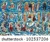Moldovita Monastery painted wall, Unesco Heritage, Romania, Europe - stock photo