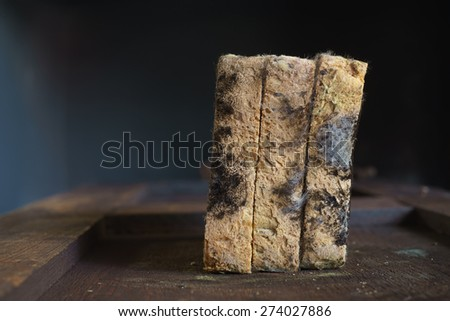Moldy bread on the old wooden board