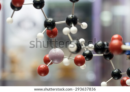 Molecular, DNA and atom model in science research lab - stock photo