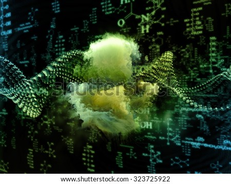 Molecular Dreams series. Background design of conceptual atoms, molecules and fractal elements on the subject of biology, chemistry, technology, science and education - stock photo