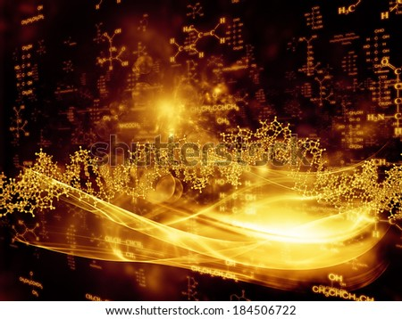 Molecular Dreams series. Visually pleasing composition of conceptual atoms, molecules and fractal elements to serve as  background in works on biology, chemistry, technology, science and education - stock photo
