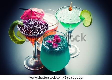 Molecular mixology - Four Cocktail with  caviar  - stock photo