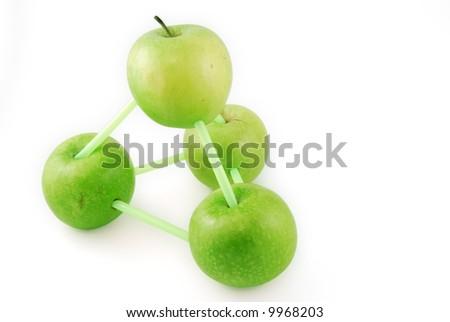 molecular model made of apples - stock photo
