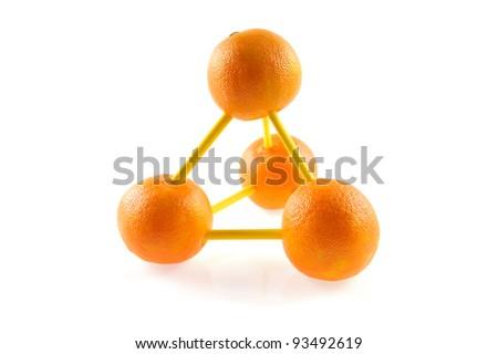 molecular model made of oranges - stock photo