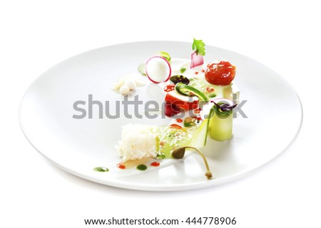 Molecular modern cuisine vegetable salad. Stock image. Isolated on white.
