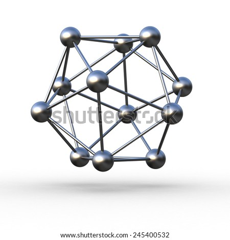 Molecular steel structure on a white background - stock photo