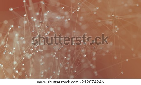 Molecular structure illustration close up orange background - stock photo
