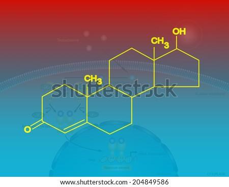 Molecular structure of testosterone - stock photo