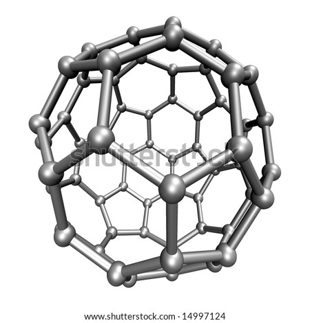 Molecular structure of the Buckminsterfullerene molecule, rendered on a white background - stock photo