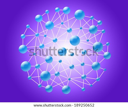 molecular structure on the violet background - stock photo