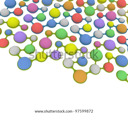 molecular structure on white background - stock photo