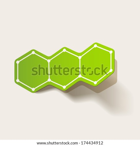 molecular structure, sticker - stock photo