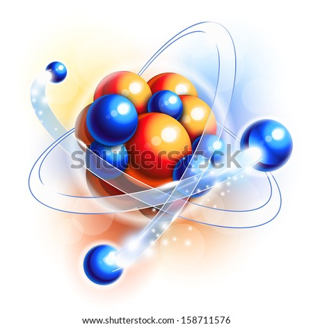 Molecule, atoms and particles in motion - stock photo