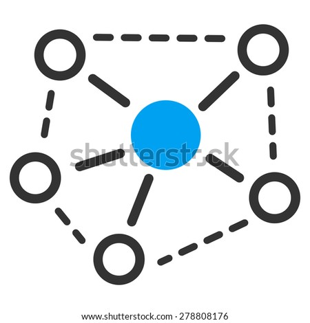Molecule links icon from Business Bicolor Set. This isolated flat symbol uses modern corporation light blue and gray colors. - stock photo