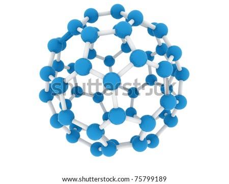 Molecule model isolated on white background - stock photo